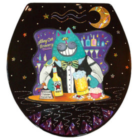 Whimsical Bartender Cat Toilet Seat