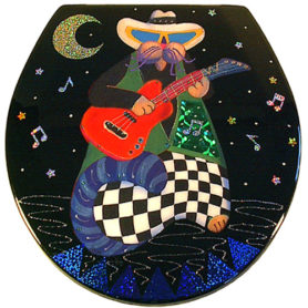 Whimiscal black cat with checkerboard pants playing a guitar toilet seat