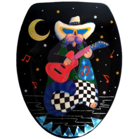 Whimsical cat with guitar toilet seat