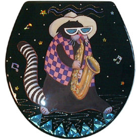 Whimsical black cat with a striped tail playing a saxaphone toilet seat