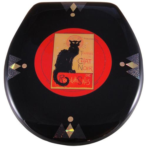 Vintage black cat on red background toilet seat