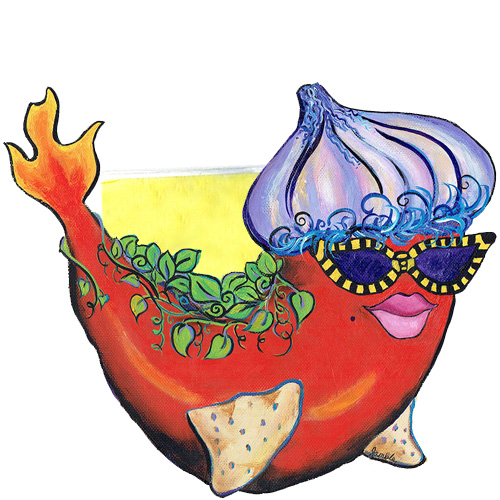 Whimsical red pepper fish with an onion hat and flaming tail napkin holder