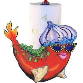 Whimiscal red pepper fish with an onion hat and flaming tail paper towel holder