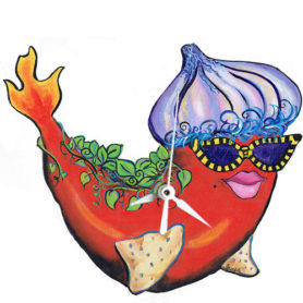 Whimsical red pepper fish with an onion hat and flaming tail clock
