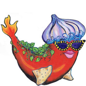 Whimsical red pepper fish with an onion hat and flaming tail wall art
