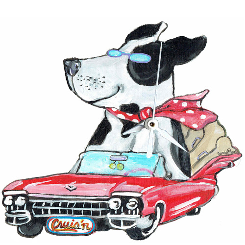 Whimsical black and white dog riding in a red cadillac clock