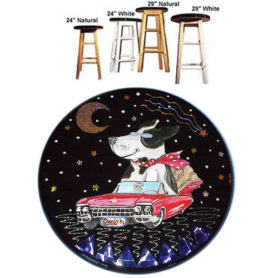Whimiscal black and white dog riding in a red cadillac stool