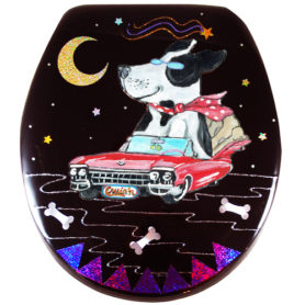 Whimsical black and white dog riding in a red cadillac toilet seat