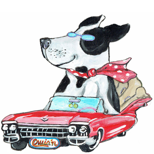 Whimsical black and white dog riding in a red cadillac wall art