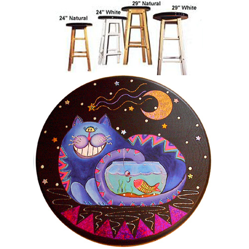 Whimsical blue cat fishing in a fish bowl stool
