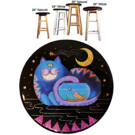 Whimsical blue cat with tail in fish bowl wooden bar stool
