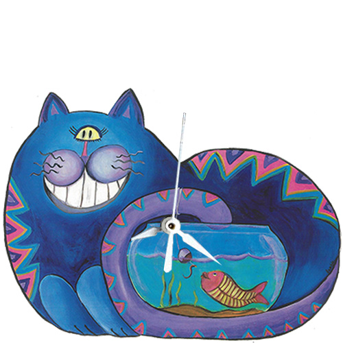 Whimsical blue cat fishing in a fish bowl clock