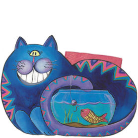 Whimsical blue cat fishing in a fish bowl napkin holder