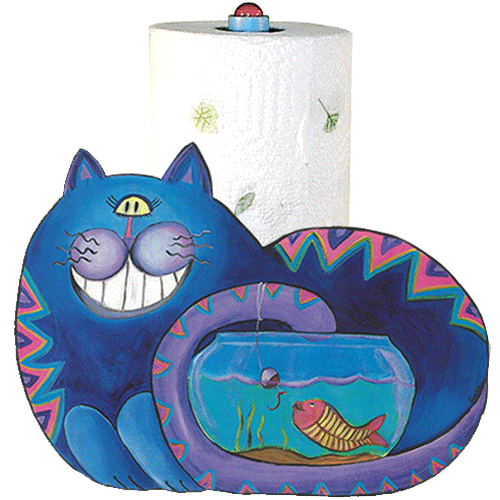 Whimsical blue cat fishing in a fish bowl paper towel holder