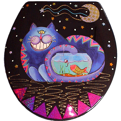 Whimsical blue cat fishing in a fish bowl toilet seat
