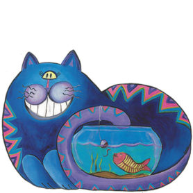 Whimsical blue cat fishing in a fish bowl wall art