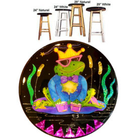 Whimsical frog wearing a crown playing drums stool