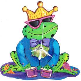Whimiscal frog wearing a crown playing drums clock