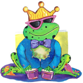 Whimsical frog wearing a crown playing drums napkin holder
