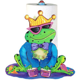 Whimsical frog wearing a crown playing drums paper towel holder