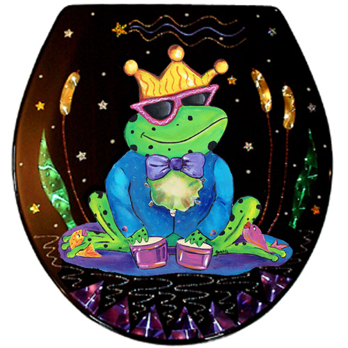 Whimsical frog wearing a crown playing drums toilet seat