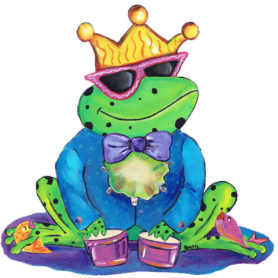 Whimsical frog wearing a crown playing drums wall art