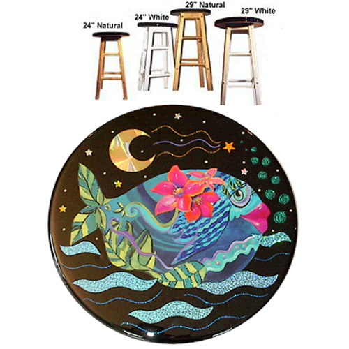 Whimsical teal fish with pink flowers stool