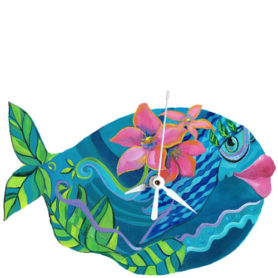 Whimsical teal fish with pink flowers clock