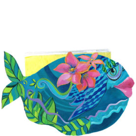Whimsical teal fish with pink flowers napkin holder