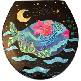 Whimsical teal fish with pink flowers toilet seat