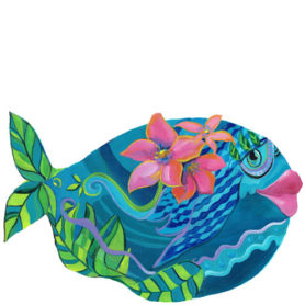 Whimiscal teal fish with pink flowers wall art