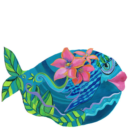 Whimsical teal fish with pink flowers wall art