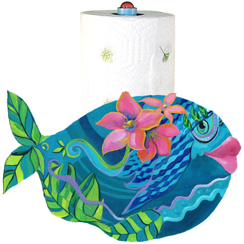 Whimsical teal fish with pink flowers paper towel holder