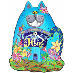 Whimsical blue cat clock