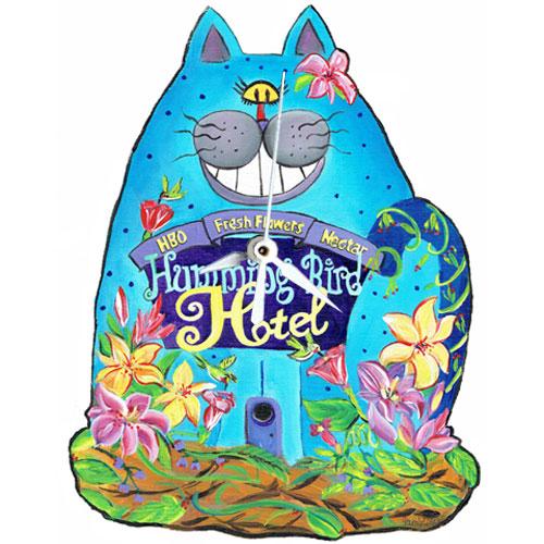 Whimsical blue cat clock