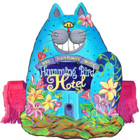 Whimsical blue cat napkin holder