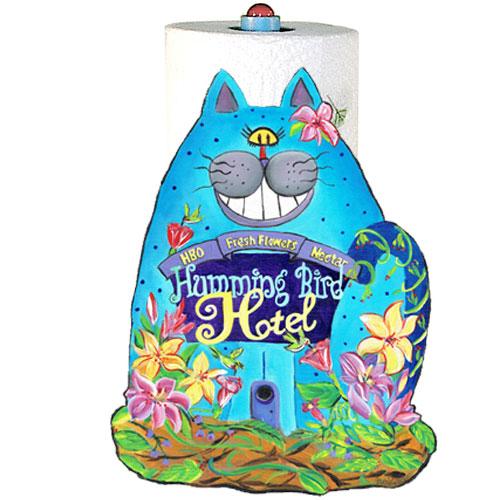 Whimsical blue cat paper towel holder
