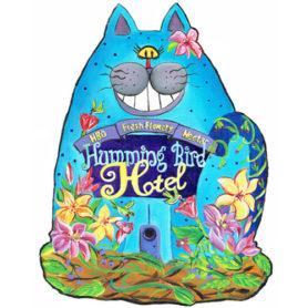Whimsical blue cat wall art