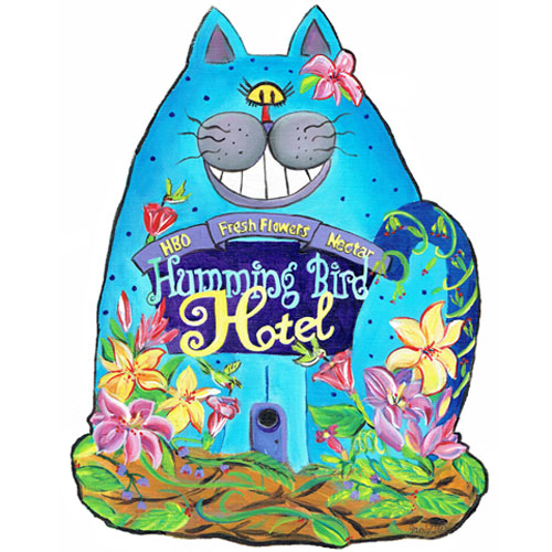 Whimsical blue cat wall art