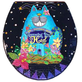 Whimsical blue cat toilet seat