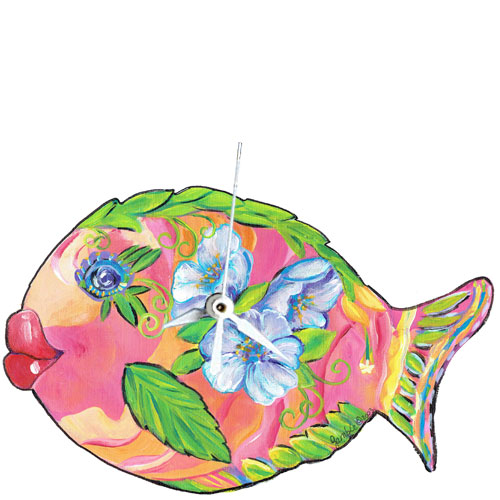 Whimsical pink and orange fish with purple flowers clock