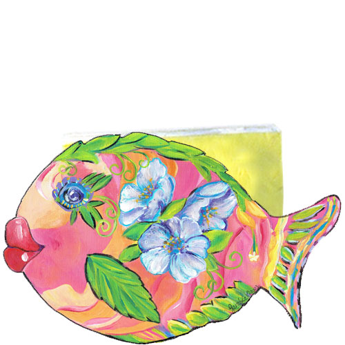 Whimsical pink and orange fish with purple flowers napkin holder