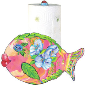Whimsical pink and orange fish with purple flowers paper towel holder