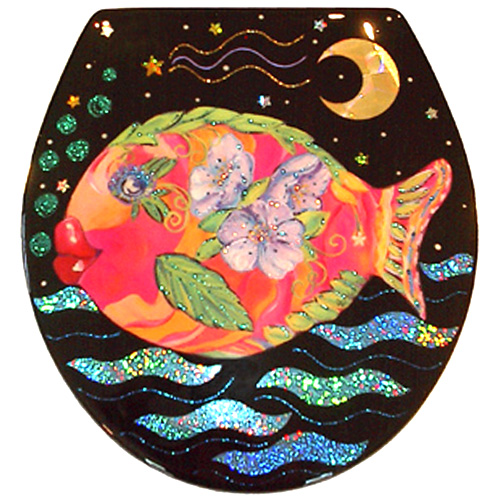 Whimsical pink and orange fish with purple flowers toilet seat