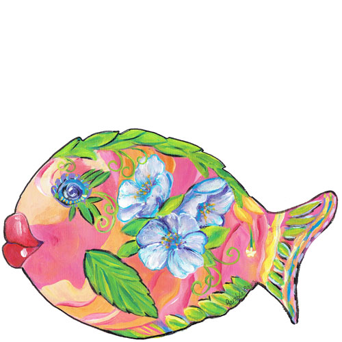 Whimsical pink and orange fish with purple flowers wall art