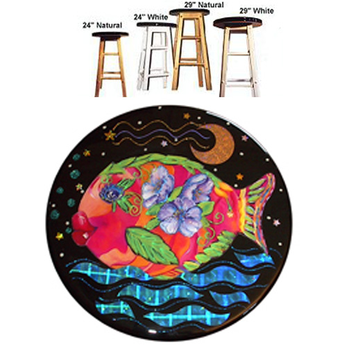 Whimsical pink and orange fish with purple flowers stool