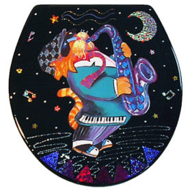 Whimiscal orange cat playing a saxaphone toilet seat