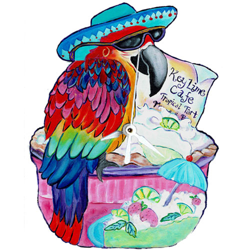 Whimsical maccaw wearing a blue hat perched on a keylime pie clock