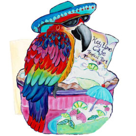 Whimsical maccaw wearing a blue hat perched on a keylime pie napkin holder