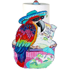 Whimsical maccaw wearing a blue hat perched on a keylime pie paper towel holder